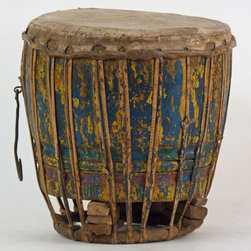 Chenda Drum India - Handcrafted wood 'Chenda' or 'Tabla' precussion drum with hide top tied with rattan, iron carry hook and polychrome painted body. Not for musicians, a drum collectors item. musicians.