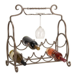 Aspire - Metal Counter Top Wine Rack - A stylish and functional way to display your favorite wines on a table-top or counter. Holds up to 8 bottles and 3 wine glasses. Metal. Color/Finish: Taupe. 23 in. H x 19 in. W x 10 in. D. Weight: 5 lbs.