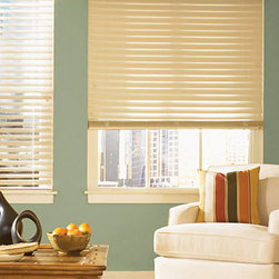 """Bali 2-1/2"""" Composite Shutter Style Blinds - 2 1/2"""" Composite Shutter Style blinds feature beveled slats for the high-style look of shutters. Easy-to-clean blinds won't warp, crack, stain or peel, even in high-humidity areas or rooms with direct sunlight. Large slats provide a clearer view to the outside when open."""