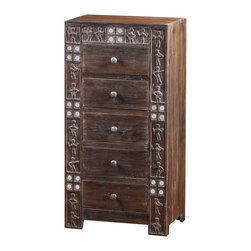 Artemano - Ethnic Bedroom Dresser Made of Acacia Wood - The Ethnic Bedroom Dresser is a show of highly skilled artisanal craftsmanship from the small hand set mirrors to the carvings of figures on the front. Solid acacia wood was selected for its durability and beauty – a rich blend of warm colors. Five spacious drawers provide plenty of storage space.  Add a touch of tribal to your décor!