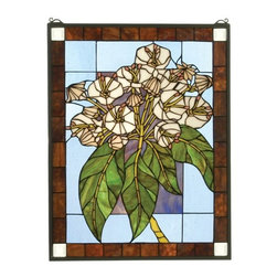 Meyda Tiffany - Meyda Tiffany Mountain Laurel Stained Glass Tiffany Window X-86213 - From the Mountain Collection, this Meyda Tiffany stained glass Tiffany window features brown trim with off-white corner accents. The darker tones of the trim allow focus to remain on the beautiful detailing of the botanical inspired design, with its warm shades of light gold and its rich, vivid greens.