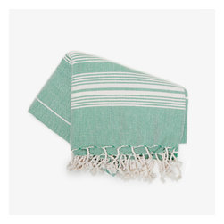 Turkish Pestemal Towel, Green - My husband Scott and I have yet to jump on the Turkish towel bandwagon, but they're said to be much more absorbent and softer than traditional bath towels, even getting softer with each wash. Adding one of these to a duo of fluffy white towels for guests is a special touch that won't go unnoticed.