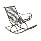 Kathy Kuo Home - Vintage Reproduction French Art Nouveau Metal Rocking Chair - There are few things more classic and comforting than a rocking chair, and nothing evokes a sense of old French styling like this distressed metal seating option.  Finished in a hand applied rust gray patina, oxidized markings contribute to a vintage appearance that can be enjoyed indoors or out thanks to the rust-proof treatment.  Whether lounging on the porch or sipping tea in the outdoor dining area, this rocking chair is sure to fit to mood.