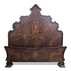 Koenig Collection - Old World Traditional Tuscan King Bed Patricia, Fresco Brown Torched - Old World Traditional Tuscan King Bed Patricia, Fresco Brown Torched,