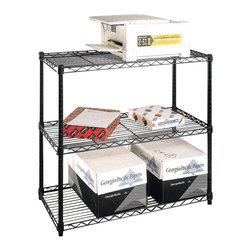 Metro Shelving - Copy Center with Wire Shelves - Black - Create an efficient copy center with this durable and adjustable unit that stands at almost four feet high. Its wire frame composition not only provides nearly unparalleled strength but also electronics-friendly support and cooling aid.