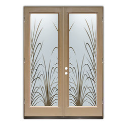 "Glass Front Entry Doors - Frosted Glass Obscure - WISPY REEDS neg - Glass Front Doors, Entry Doors that Make a Statement! Your front door is your home's initial focal point and glass doors by Sans Soucie with frosted, etched glass designs create a unique, custom effect while providing privacy AND light thru exquisite, quality designs!  Available any size, all glass front doors are custom made to order and ship worldwide at reasonable prices.  Exterior entry door glass will be tempered, dual pane (an equally efficient single 1/2"" thick pane is used in our fiberglass doors).  Selling both the glass inserts for front doors as well as entry doors with glass, Sans Soucie art glass doors are available in 8 woods and Plastpro fiberglass in both smooth surface or a grain texture, as a slab door or prehung in the jamb - any size.   From simple frosted glass effects to our more extravagant 3D sculpture carved, painted and stained glass .. and everything in between, Sans Soucie designs are sandblasted different ways creating not only different effects, but different price levels.   The ""same design, done different"" - with no limit to design, there's something for every decor, any style.  The privacy you need is created without sacrificing sunlight!  Price will vary by design complexity and type of effect:  Specialty Glass and Frosted Glass.  Inside our fun, easy to use online Glass and Entry Door Designer, you'll get instant pricing on everything as YOU customize your door and glass!  When you're all finished designing, you can place your order online!   We're here to answer any questions you have so please call (877) 331-339 to speak to a knowledgeable representative!   Doors ship worldwide at reasonable prices from Palm Desert, California with delivery time ranges between 3-8 weeks depending on door material and glass effect selected.  (Doug Fir or Fiberglass in Frosted Effects allow 3 weeks, Specialty Woods and Glass  [2D, 3D, Leaded] will require approx. 8 weeks)."
