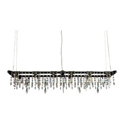 "Michael McHale Designs - Tribeca Collection Banqueting Chandelier, Standard Cables (Adjustable Up to 40"") - The Tribeca Banqueting Chandelier, is our finest and most affordable modern industrial chic chandelier yet. The Tribeca Banqueting Chandelier exemplifies our unique and artistic industrial chic design incorporating re-purposed steel pipe and the highest quality bohemian crystal."