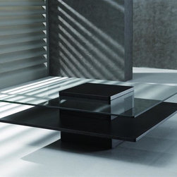 New Spec - Modern Coffee Table w Square Glass Top in Wen - Color/Finish: Wenge. Material: Tempered Glass/ Mfd Laminate. . . 39.37 in. L x 39.37 in. W x 13.77 in. H (121 lbs)
