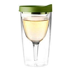 """AdNArt - Salsa Verde Vino2Go Wine Tumbler - Chill out and enjoy your frosty drinks! The wine glass double wall tumbler is for those times when a cup from real glass with a fragile rim a spindly stem might make you too nervous to really enjoy your wine. The Salsa Verda Acrylic Wine Tumbler is crafted from BPA free acrylic, especially designed from a strong and shatter proof material. This insulated tumbler has a double-wall construction that prevents condensation and keeps your beverages ice cold. Great for all kinds of cocktails, frozen drinks or wine. With a green snap-shut lid, you will always know which glass is yours!           * Measures: 6.75"""" Tall * Capacity: 10oz."""