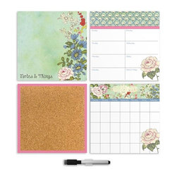 """Brewster Home Fashions - Vintage Bazaar 4 Pc Organizer Kit Decals - The Vintage Bazaar organization kit includes everything you need to stay on top of a busy schedule with beautiful graphics. Lush florals with mod graphics add a lovely look to your room while providing the perfect space to keep track of your life. A dry-erase monthly calendar weekly planner and notes section are accompanied by a cork board to tack up photos and memorabilia without damaging your walls. The kit also includes 6 oversized pins to add your own photos keepsakes and more to the wall. Each of the organizer kit pieces are 13"""" x 13""""."""