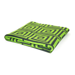 "Pur by Pur Cashmere - Signature Blend Throw Grass Green 50""x65"" - Jacquard greek key pattern throw. 100% cotton blend Dry clean only. Inner mongolia."