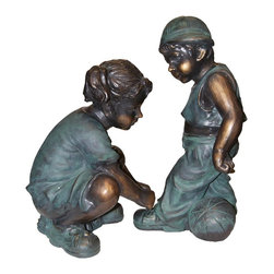 Alpine Fountains - Girl Fixing Boy's Shoe Lace Statue - Made of Fiberglass and Resin. 1 Year Limited Warranty. Assembly Required. Overall Dimensions: 9 in. L x 10 in. W x 19 in. H (16.94 lbs)This antique bronze finish resin sculpture has a timeless charm that captures the innocence of childhood. The intricate detailing of these children is sure to bring a whimsical playfulness to your garden or deck.