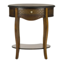 Safavieh - Arthur End Table - Elegance is a reliable friend, and solid birch construction, a simple brass-finish knob on vintage-textured wood drawer, and gently curved legs make the Arthur End Table a lifelong companion.