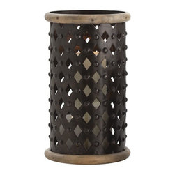 Arteriors - Fallon Hurricane, Large - Dark and romantic! You'll be spellbound by the effect of this rustic metal and wood hurricane. Have a group of pillars ready and settle in to watch the shadowy effect of diamond shapes across the room.