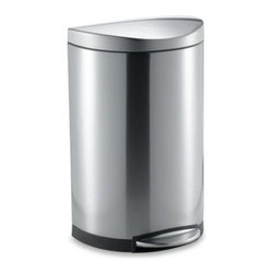 Simplehuman - simplehuman 40-Liter Semi-Round Brushed Stainless Steel Step Trash Can - This fingerprint-proof semi-round step can is designed for superior durability and strength, with a sturdy, solid steel platform pedal and step area.