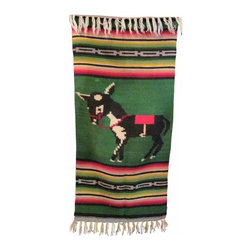 Mexican Saltillo - Extreamly unusual and highly collectable, 100% wool, in perfect condition vintage mexican saltillo,circa 1930, i have never seen another one with this Donkey design in the center, would look great on a tabel as a runner or over the arm of a chair, or even on your wall, you will not see another one of these for a long time.
