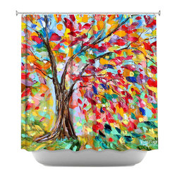 DiaNoche Designs - Poetry of a Tree Shower Curtain - Sewn reinforced holes for shower curtain rings. Shower curtain rings not included. Dye Sublimation printing adheres the ink to the material for long life and durability. Machine washable. Made in USA.