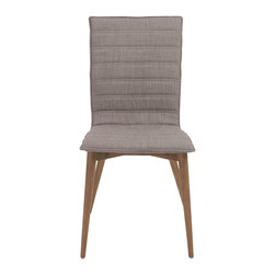Eurostyle - Yoland Side Chair (Set of 2) - Gray/Walnut - Legs of solid ash and your choice of brown or gray fabric over foam.  Yoland looks somewhat conservative.  Or is it classic?  The horizontally upholstered cushion seat and back look just right at a dining table or in an office.