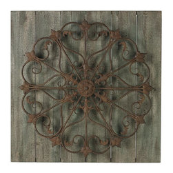 Joshua Marshal - Meridian-Metal Scroll On Distressed Wood Wall Panel - Meridian-Metal Scroll On Distressed Wood Wall Panel