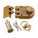 First Watch Security - Double Cylinder Interlocking Deadbolt in Polished Brass - 5-pin tumbler with hardened steel pins. Double cylinder locking unit and strike. Locks door to jamb to prevent forced entry. Requires a 1-1/4 in. hole. Includes tamper-resistant shutter guard. Polished Brass Finish