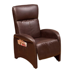 Great Deal Furniture - Royce Leather Recliner, Brown - The Royce Recliner is a perfect piece for any room in your home. This chair exudes luxury and comfort when both upright and in the reclining position while the smooth bonded leather adds sophistication, giving you style with no cost to relaxation potential.