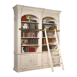 Kathy Kuo Home - Percier French Country White Double Library Bookcase with Ladder - A nostalgic, architectural library shelving unit, complete with portable ladder, holds all of your favorite reading materials and collectibles. Finished in French white, this towering, double bookcase has eight adjustable shelves for customized storage. Four doors in the bottom open to reveal more space and two extra shelves.
