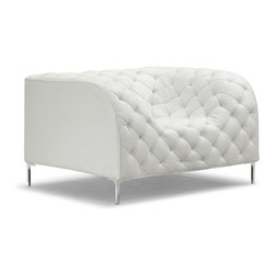Zuo Modern - Zuo Modern 900271 Providence Armchair White - Like a grand piece of art, the Providence set dramatically changes any room. The set is wrapped and tufted in a leatherette with chrome legs.