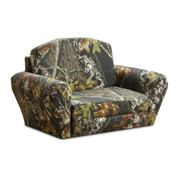 Kidz World - Kidz World Mossy Oak Camouflage Sleepover Sofa Multicolor - 1850-1-MO - Shop for Childrens Sofas from Hayneedle.com! No flimsy foam chair for your little hunter; give him a comfortable seat with the Kidz World Mossy Oak Camouflage Sleepover Sofa. This sturdy piece of children's furniture has a mixed hardwood frame covered with polyurethane foam padding to provide maximum comfort. The upholstery is 100% cotton and cushion glides on the bottom of each piece protect the fabric from tearing. Quickly convert this seat into a sleeper by removing the backrest - perfect for sleepovers or a quick nap. In its folded position this kid's sofa has a stylish curved back and armrests making it a great addition to your child's room -- or even the family room.About Kidz WorldA.D. Blount Linda Blount Alison Nichols Justin Nichols and Dwight Griffin established Kidz World furniture in March of 2009 after looking at the children's furniture market and deciding that better quality and more fabric choices were needed. They decided to manufacture children's furniture that was more like adult furniture in terms of hardwood frames foam filling and other high-quality components. By providing this quality and offering the resulting furniture in a variety of fabrics including licensed fabrics such as Mossy Oak National Football League Collegiate Sports and Major League Baseball Kidz World has quickly established themselves as the leading manufacturer of children's furniture.