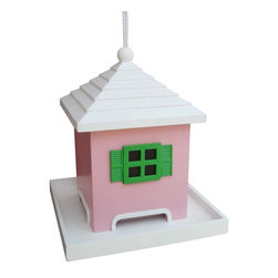Home Bazaar Inc - Bermuda Birdfeeder, Pink - This style is inspired by the wonderful architecture found on the island of Bermuda. The top of This style lifts up along a heavy-duty nylon cord to access a large cavity capable of holding 2 pounds of seed. The seed tray has drainage holes to allow water to escape. Will handle all types of seed.