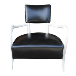 Mortise & Tenon - Elsa Chair - Sleek black leather chair.