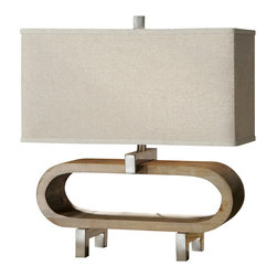 Uttermost - Uttermost Medea Wood Accent Lamp - Medea Wood Accent Lamp by Uttermost Lightly Stained Wood Base Accented With Polished Chrome Plated Details. The Rectangle Shade Is An Oatmeal Linen Fabric.
