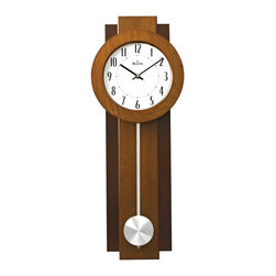 BULOVA - Avent Wood Case Contemporary Wall Clock - Wood case, two-tone walnut and mahogany finish