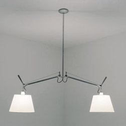 Artemide - ARTEMIDE TOLOMEO DOUBLE PENDANT LAMP + SHADE - The Tolomeo double suspension lamp by Artemide offers direct lighting with a fully adjustable, articulated arm structure in extruded aluminum with joints and tension control knobs in polished die-cast aluminum and tension cables in stainless steel.