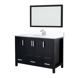 Adornus - Adornus ASTORIA 48-E-Q Espresso Vanity - * Solid wood , 1 inch thick Quartz top with White rectangle undermount sink.