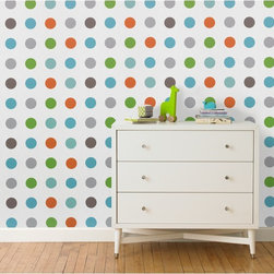 Dots Multi Wallpaper - While this wallpaper is meant for kids, I think it would be a great update for an office or laundry room.