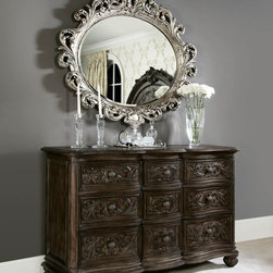 American Drew - American Drew Jessica McClintock 9 Drawer Dresser w/ Oval Mirror - American Drew Jessica McClintock 9 Drawer Dresser w/ Oval Mirror