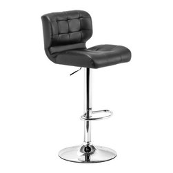 ZUO - Formula Barstool - Black - Like the seat of your favorite vintage car, you'll look forward to climbing onto the Formula Barstool. Quilted leatherette back with high edges make it comfortable and the chrome base makes it graceful. Comes in black or white.