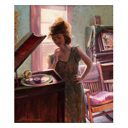 Steve Henderson Fine Art - Phonograph Days Artwork --  Original Oil Painting - Original oil painting on panel, 24 inches high x 20 inches long. With gold-colored frame -- included with purchase -- finished hanging size is 30 x 26. This is the original oil painting of a licensable work.