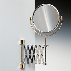 Windisch - Wall Mounted Brass Extendable Double Face 3x or 5xop Magnifying Mirror - Double face magnifying mirror (one side regular, one side magnifying). Unique polished nickel makeup mirror. Contemporary & modern wall magnified mirror. For contemporary & modern settings. From the Windisch Double Face Mirrors collection. Made in and imported from Spain.