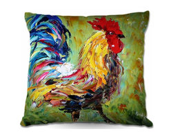 DiaNoche Designs - Pillow Woven Poplin - Rooster II - Toss this decorative pillow on any bed, sofa or chair, and add personality to your chic and stylish decor. Lay your head against your new art and relax! Made of woven Poly-Poplin.  Includes a cushy supportive pillow insert, zipped inside. Dye Sublimation printing adheres the ink to the material for long life and durability. Double Sided Print, Machine Washable, Product may vary slightly from image.