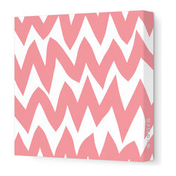 "Avalisa - Pattern - Zig Zag Stretched Wall Art, 18"" x 18"", Coral -"