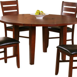 Homelegance - Homelegance Ameillia Drop Leaf Round Dining Table in Dark Oak - Blending the clean lines of arts and crafts with functional movement, the Ameillia collection is a solid addition to your casual dining space. The drop-leaf table features a lazy-susan making mealtime service a breeze. Substantial tapered legs and birch veneer in a dark oak finish complement this simple and refined dining option.