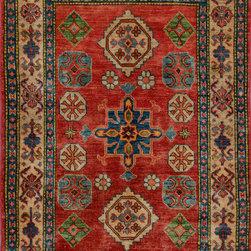 "ALRUG - Handmade Rust Oriental Kazak Rug 3' 3"" x 4' 10"" (ft) - This Afghan Kazak design rug is hand-knotted with Wool on Cotton."