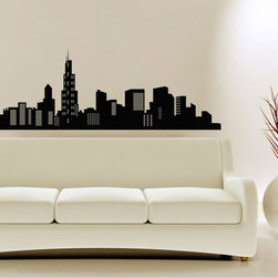StickONmania - City Skyline Design Sticker - A cool vinyl decal wall art decoration for your home  Decorate your home with original vinyl decals made to order in our shop located in the USA. We only use the best equipment and materials to guarantee the everlasting quality of each vinyl sticker. Our original wall art design stickers are easy to apply on most flat surfaces, including slightly textured walls, windows, mirrors, or any smooth surface. Some wall decals may come in multiple pieces due to the size of the design, different sizes of most of our vinyl stickers are available, please message us for a quote. Interior wall decor stickers come with a MATTE finish that is easier to remove from painted surfaces but Exterior stickers for cars,  bathrooms and refrigerators come with a stickier GLOSSY finish that can also be used for exterior purposes. We DO NOT recommend using glossy finish stickers on walls. All of our Vinyl wall decals are removable but not re-positionable, simply peel and stick, no glue or chemicals needed. Our decals always come with instructions and if you order from Houzz we will always add a small thank you gift.