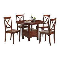 Boraam - Boraam Madison 5 Piece Dining Set in Cherry - Boraam - Dining Sets - 21012 - The presences of this charming dining set will enhance any dining space. Make the most of your space with the 5pc Madison dining set. The table is equipped with a storage cabinet and shelf plus its oval shape allows it to squeeze into even the most odd shaped spaces. The table and chairs are both founded with solid hardwood constructed with detail and engineered to last.