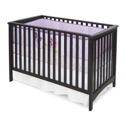 "Child Craft - London Stationary 2-in-1 Convertible Crib - London Euro Crib (Item # F10031): This classic, European style crib will blend perfectly with your nursery dcor and has clean, simple lines. The European style crib features stationary sides. Crib converts easily into a toddler bed with the removal of the front side. Optional Toddler Guard Rail (F09524) offers extra security to the child transitioning from the crib to toddler bed. Limited, Lifetime Warranty. All necessary parts for conversion from a crib to a toddler bed are included. Made of all wood construction with non-toxic finish. 2 position mattress height adjustment. (Crib mattress sold separately). All screws fit into metal bushings so you may safely convert this bed as many times as necessary without sacrificing structural integrity. Compliant with all mandatory and voluntary standards including 16CFR 1219, ASTM-F1169, ASTM-F966 and ASTM-F1821. JPMA certified. Features: -London collection. -Solid wood construction. -Euro style. -Crib can convert from crib to toddler bed with included parts. -2 position mattress height adjustment. -Non toxic, baby-safe finish. -Sides are completely stationary. -Optional toddler guard rail sold separately. -Safely convert this bed without sacrificing structural integrity. -JPMA Certified. -Manufacturer provides limited lifetime warranty. Dimensions: -Crib: 34"" H x 56.3"" W x 31.5"" D, 40 lbs. -Rail : 14"" H x 40"" W x 1"" D, 5lbs."