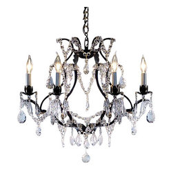 The Gallery - Swarovski crystalrimmed chandelier - Wrought Iron Crystal chandelier Chandelie - This beautiful chandelier is trimmed with Sprectra crystal reliable crystal by Swarovski. Swarovski is the world's leading manufacturer of high quality crystal. Sprectra crystal Swarovski undergoes stringent quality control and offers the best crystal uniformity of sparkle, light reflection and Sprectral colors. VERSAILLES COLLECTION WROUGHT IRON chandelier trimmed with Sprectra crystal reliable crystal by Swarovski . A Great European Tradition. Nothing is quite as elegant as the fine crystal chandeliers that gave sparkle to brilliant evenings at palaces and manor houses across Europe. This beautiful chandelier from the Versailles Collection has 6 lights and is trimmed with Sprectra crystal reliable crystal by Swarovski that capture and reflect the light of the candle bulbs. The frame is Wrought Iron, adding the finishing touch to a wonderful fixture. The timeless elegance of this chandelier is sure to lend a special atmosphere anywhere its placed