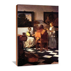 """Artsy Canvas - Musical Trio 32"""" X 48"""" Gallery Wrapped Canvas Wall Art - One young sings, a man plays a guitar and a young girl plays a keyboard instrument beautifully represented on 32"""" x 48"""" high-quality, gallery wrapped canvas wall art"""