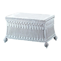 Spice Island Wicker - Classic Blanket Chest (White/Off-White) - Victorian style. Made from wicker. White color. 35 in. W x 18 in. D x 21 in. H (25 lbs.)