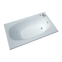 Spa World Corp - Atlantis Tubs 4272PDR Polaris 42x72x23 Inch Rectangular Air & Whirlpool Jetted - The Polaris series features a blend of oval and rectangular construction and molded armrests. Soft surround curves of the interior provide soothing comfort to your bathing experience. The narrow width of the Polaris bathtubs' edge adds additional space.  The Atlantis Whirlpools jet massaging action is created by combining hot water with air bubbles and moving the mixture at high speeds through jet nozzles. These streams of water loosen tight muscles and stimulate the release of endorphins, the body's natural painkillers, helping to melt away any aches and pains. The overall effect leaves you feeling physically, mentally and emotionally relaxed and refreshed.  Drop-In tubs have a finished rim designed to drop into a deck or custom surround.  They can be installed in a variety of ways like corners, peninsulas, islands, recesses or sunk into the floor.  A drop in bath is supported from below and has a self rimming edge that is designed to sit over a frame topped with a tile or other water resistant material.  The trim for the air or water jets is featured in white to color match the tub.